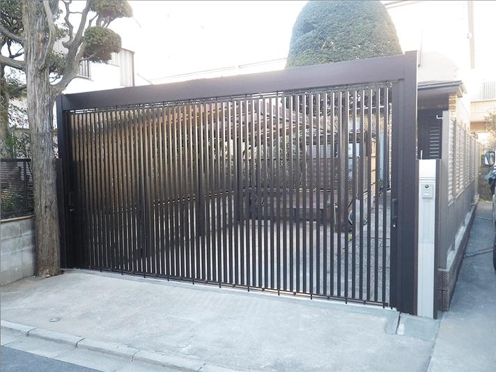 駐車場施工事例の開閉時-東中野